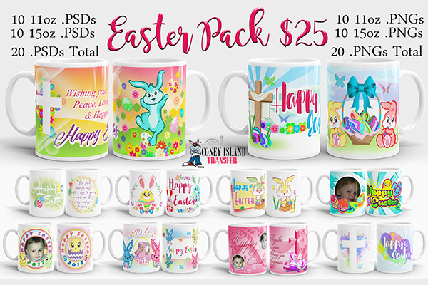 Easter Mug Template 10 Pack - Coney Island Transfer