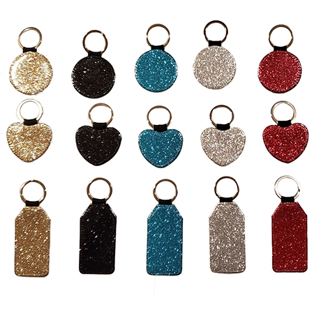 glitter keychain faux leather